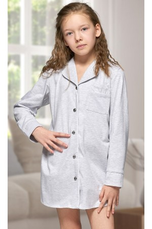 320 Kids Grey Cotton shirt with piping