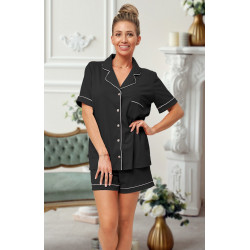 444 Black Cotton short PJ's with piping