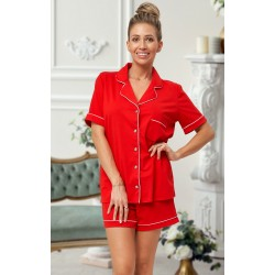 444 Red Cotton short pj's with piping