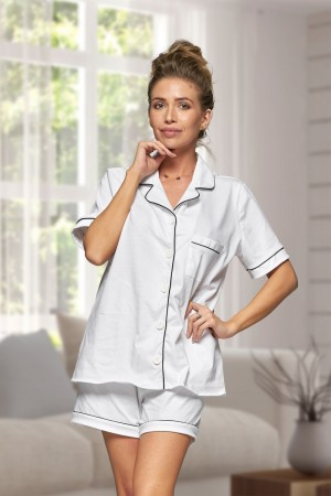 444 White Cotton short pj's with piping