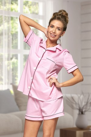 444 Baby Pink Cotton short pj's with piping