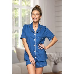***Discontinued*** 444 Navy Cotton short pj's with piping