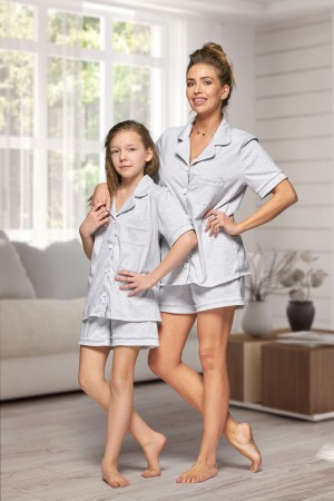 444 Grey Cotton short pj's with piping
