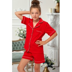 555 Kids Red Cotton pajama with piping