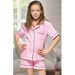 555 Kids Baby Pink Cotton pajama with piping