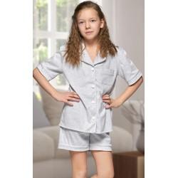 555 Kids Grey Cotton pajama with piping