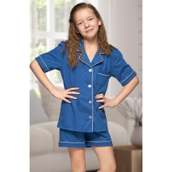 555 Kids Navy Cotton pajama with piping