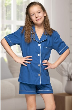 555 Kids Navy Cotton pajama with piping
