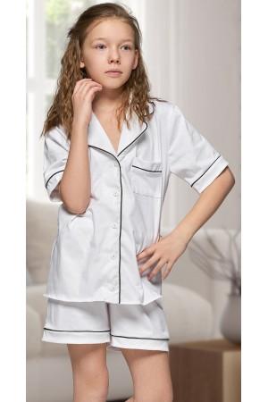 555 Kids White Cotton pajama with piping