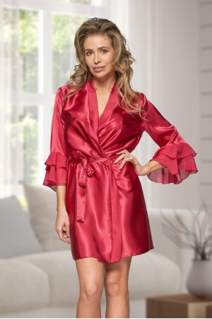 6012 Nine X Burgundy Satin Dressing Gown With Chiffon S-2XL