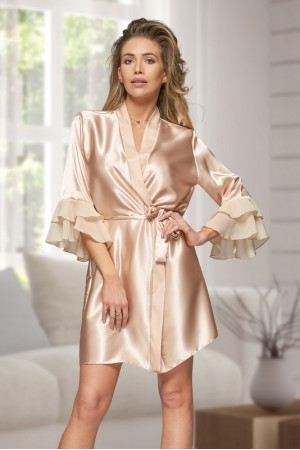 6012 Nine X Champagne Satin Dressing Gown With Chiffon S-2XL