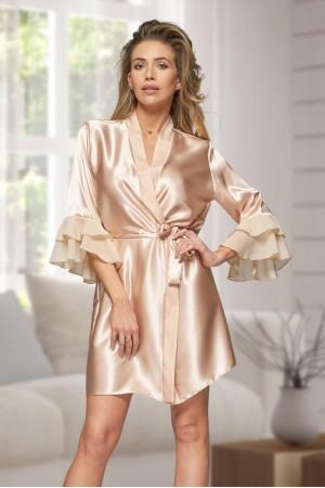6012 Nine X Champagne Satin Dressing Gown With Chiffon S-2XL
