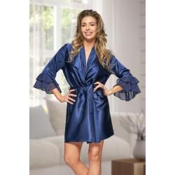 6012 Nine X Navy Satin Dressing Gown With Chiffon S-2XL