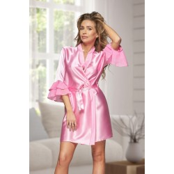 6012 Nine X Baby Pink Satin Dressing Gown With Chiffon S-2XL