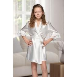 7013 Nine X Kids Ivory Satin Dressing Gown With Chiffon 2/4-12/13yrs