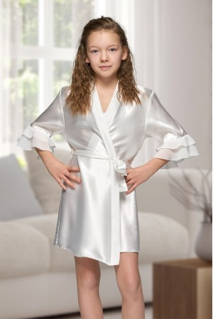 7013 Nine X Kids Ivory Satin Dressing Gown With Chiffon 2/4-12/13yrs