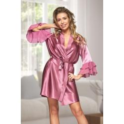 6012 Nine X Mauve Satin Dressing Gown With Chiffon S-2XL