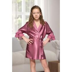 7013 Nine X Kids Mauve Satin Dressing Gown With Chiffon 2/4-12/13yrs