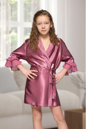 7013 Nine X Kids Mauve Satin Dressing Gown With Chiffon 2/4-12/13yrs
