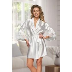 6012 Nine X Ivory Satin Dressing Gown With Chiffon S-2XL