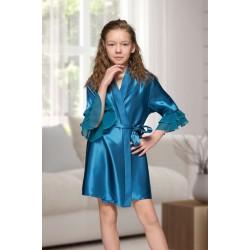 7013 Nine X Kids Teal Satin Dressing Gown With Chiffon 2/4-12/13yrs