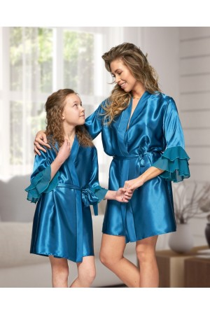 6012 Nine X Teal Satin Dressing Gown With Chiffon S-2XL