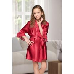 7013 Nine X Kids Burgundy Satin Dressing Gown With Chiffon 2/4-12/13yrs
