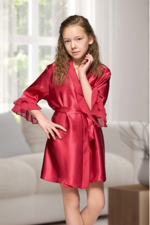 7013 Nine X Kids Burgundy Satin Dressing Gown With Chiffon 2/4-12/13yrs