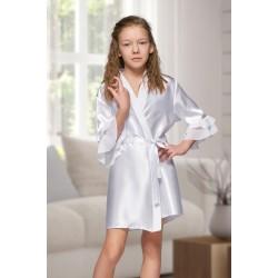 7013 Nine X Kids White Satin Dressing Gown With Chiffon 2/4-12/13yrs