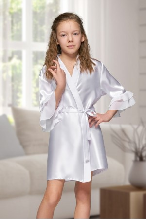 7013 Nine X Kids White Satin Dressing Gown With Chiffon 2/4-12/13yrs