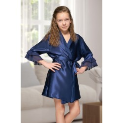 7013 Nine X Kids Navy Satin Dressing Gown With Chiffon 2/4-12/13yrs