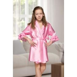 7013 Nine X Kids Baby Pink Satin Dressing Gown With Chiffon 2/4-12/13yrs