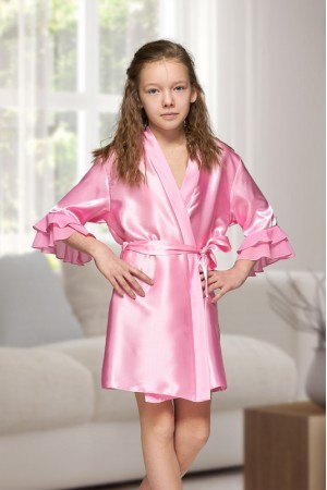 7013 Nine X Kids Baby Pink Satin Dressing Gown With Chiffon 2/4-12/13yrs