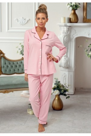 664 Women's Baby Pink Long Cotton pajama with piping
