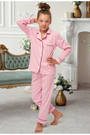 664 Kids Baby Pink Long Cotton pajama with piping