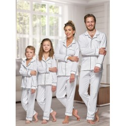 664 Women's White Long Cotton pajama with piping