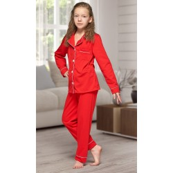664 Kids Red Long Cotton pajama with piping