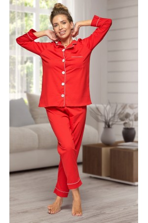664 Women's Red Long Cotton pajama with piping