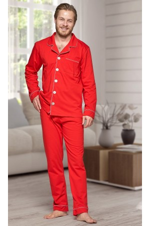 665 Men's Red Long Cotton pajama with piping