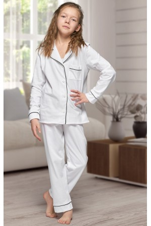 664 Kids White Long Cotton pajama with piping