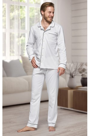 665 Men's White Long Cotton pajama with piping