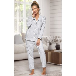 664 Women's Grey Long Cotton pajama with piping
