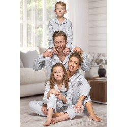 665 Men's Grey Long Cotton pajama with piping