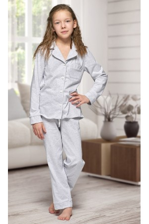 664 Kids Grey Long Cotton pajama with piping