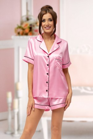 115 Baby Pink satin short pj's with piping