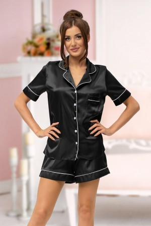 115 Black satin short pj's with piping