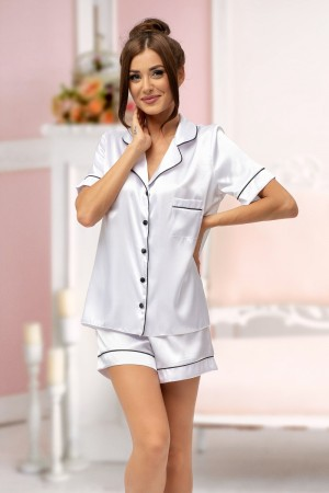115 White satin short pj's with piping