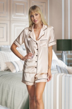 115 Champagne satin short pj's with piping( Out of stock sizes temporarily made to order )
