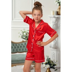 120 Red Kids Satin Short Sleeve pj's with piping