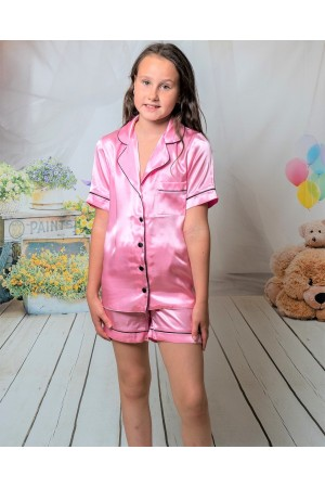 120 Baby Pink Kids Satin Short Sleeve  pj's with piping